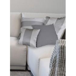 Cuscino taffetas a righe argento/grigio. Piccolo 35x35
