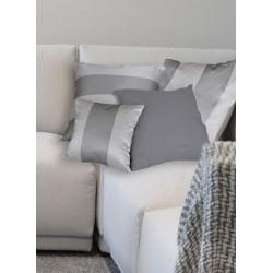 Cuscino taffetas a righe argento/grigio. Intermedio 40x40