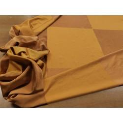 Tessuto misto seta con motivo a scacchi color mattone e ocra