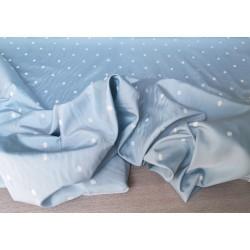 PACCHETTO OFFERTA 3 METRI di tessuto in misto seta colore azzurro chiaro a pois bianchi