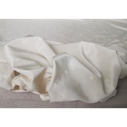 PACCHETTO OFFERTA 3 METRI di tessuto in misto seta colore bianco panna a pois bianchi