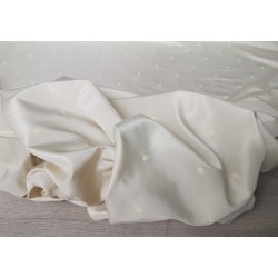 PACCHETTO OFFERTA 10 METRI di tessuto in misto seta colore bianco panna a pois bianchi