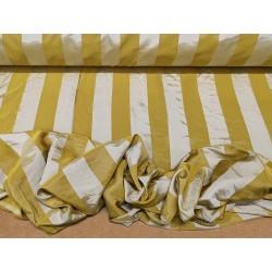 Tessuto in raso con motivo a righe verticali senape e oro chiaro