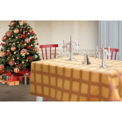 Focus copper red and mustard colored tablecloth