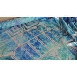 Scampoli in Taffetas con stampa ad arco acquamarina e blu