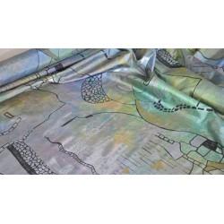 Scampoli in Taffetas stampato blu, verde, rosa e nero