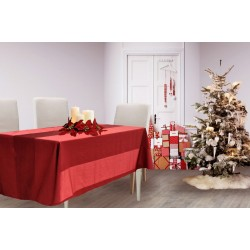 Red striped satin tablecloth Floris