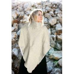 Poncho in lana melange grigo beige