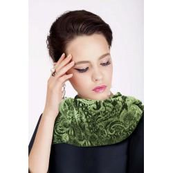 Pashmina verde in velluto effetto jacquard