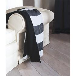 Coperta double face in lino rigato bianco e nero e pile