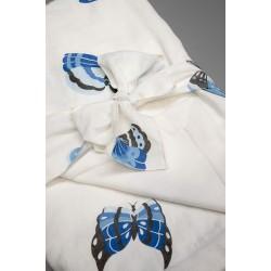 Coperta double face in lino con farfalle stampate e pile