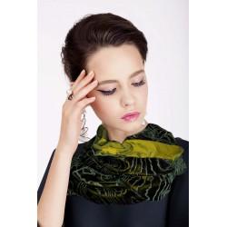 Pashmina verde in velluto effetto moirè
